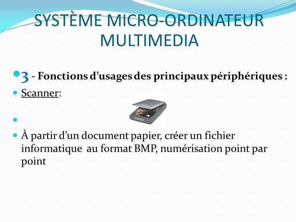 3 - Fonctions dusages des principaux périphériques : Scanner: À partir dun document papier, créer un fichier informatique au format BMP, numérisation