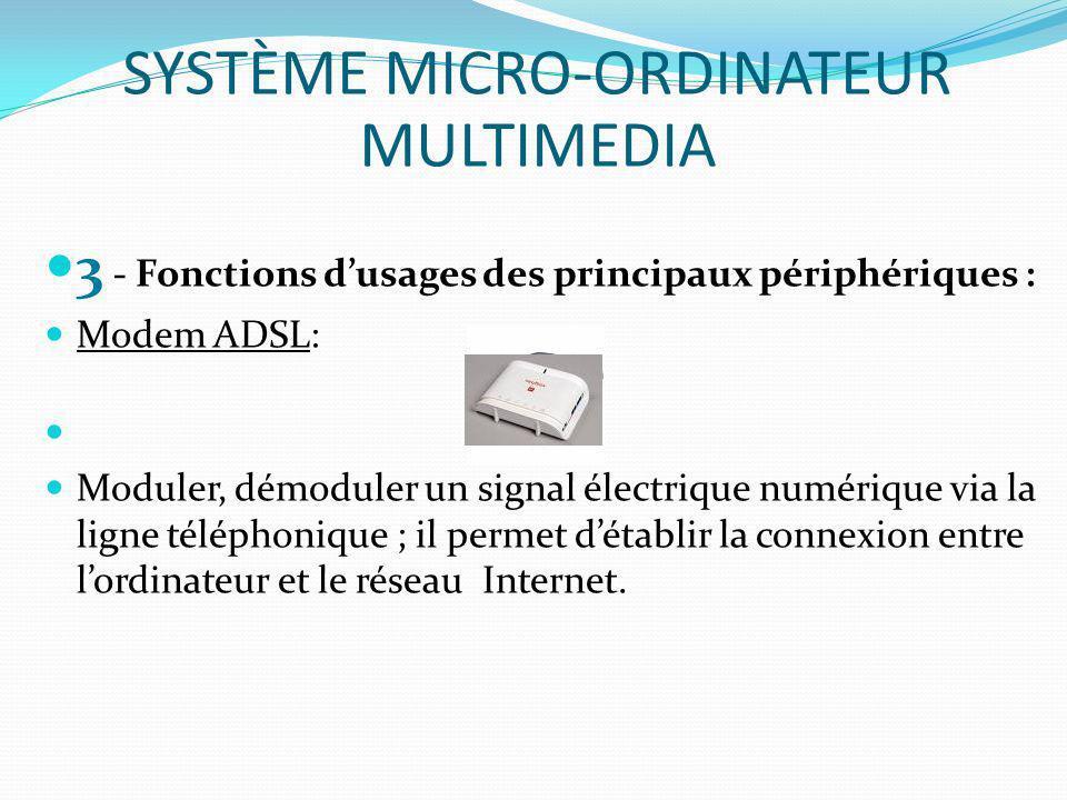 3 - Fonctions dusages des principaux périphériques : Modem ADSL: Moduler, démoduler un signal électrique numérique via la ligne téléphonique ; il perm