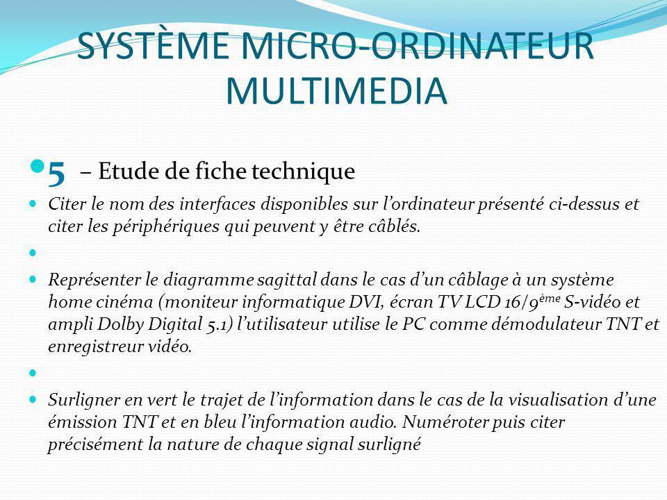 5 – Etude de fiche technique Citer le nom des interfaces disponibles sur lordinateur présenté ci-dessus et citer les périphériques qui peuvent y être