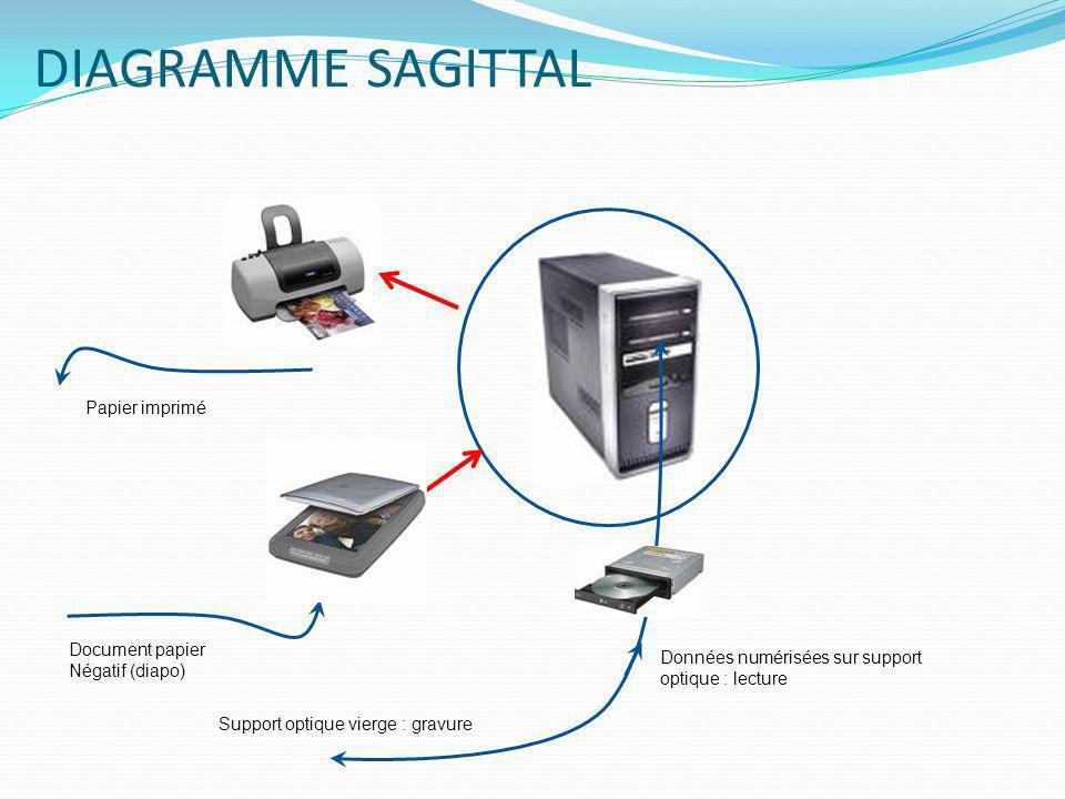 DIAGRAMME SAGITTAL Papier imprimé Document papier Négatif (diapo) Données numérisées sur support optique : lecture Support optique vierge : gravure
