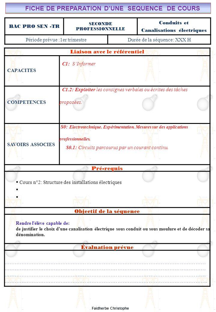 Seconde Bac Professionnel ELEEC Synthèse Plan du TD ………………………………..……… M.FAIDHERBE, Professeur au Lycée Privé Saint Rémi Pôle professionnel Léonard de Vinci Liaison avec le référentiel C7X C6X C5X C4X C3X C2X C1x S0S1S2S3S4S5S6S7 CHAMP PROFESSIONNEL: Alarme, Sécurité, Incendie TD N°5: Conduits et canalisations électriques S0: Les Systèmes Electroniques dAlarme, Sécurité, Incendie S0 -1.0: Règles techniques dinstallation Lycée Saint-Rémi, site Léonard de Vinci BAC PRO SEN – TR Seconde Professionnelle Lieu dActivité: Classe OBJECTIFS - Identifier des situations dangereuses -Evaluer la dangerosité du courant -Calculer la sensibilité dun disjoncteur TD - Exercice n°1 : situations dangereuses - Exercice n°2 : Danger de la durée de passage du courant - Exercice n°3 : Calcul autour de la sensibilité