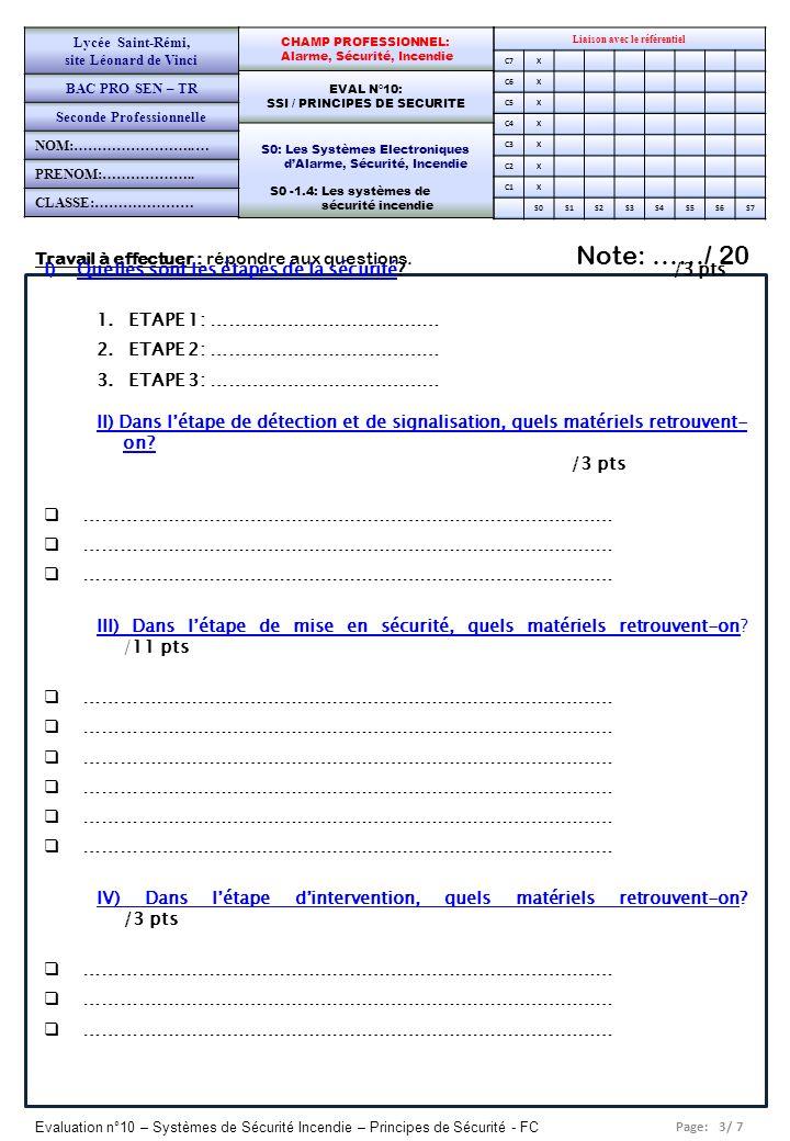 Page: 3/ 7 Evaluation n°10 – Systèmes de Sécurité Incendie – Principes de Sécurité - FC Travail à effectuer : répondre aux questions. Note: ……/ 20 Lia