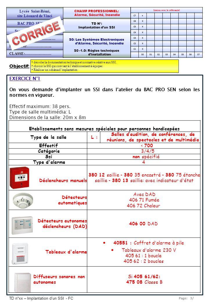 Page: 3/ TD n°xx – Implantation dun SSI - FC EXERCICE N°1 On vous demande dimplanter un SSI dans latelier du BAC PRO SEN selon les normes en vigueur.