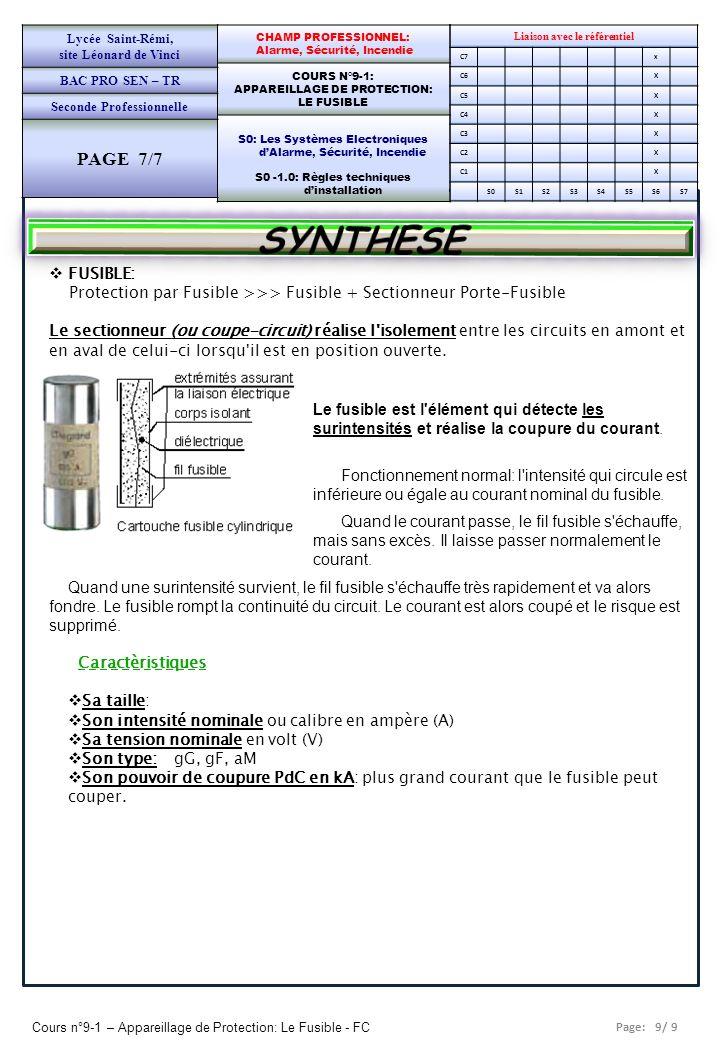 Page: 9/ 9 Cours n°9-1 – Appareillage de Protection: Le Fusible - FC Liaison avec le référentiel C7x C6X C5X C4X C3X C2X C1X S0S1S2S3S4S5S6S7 CHAMP PR