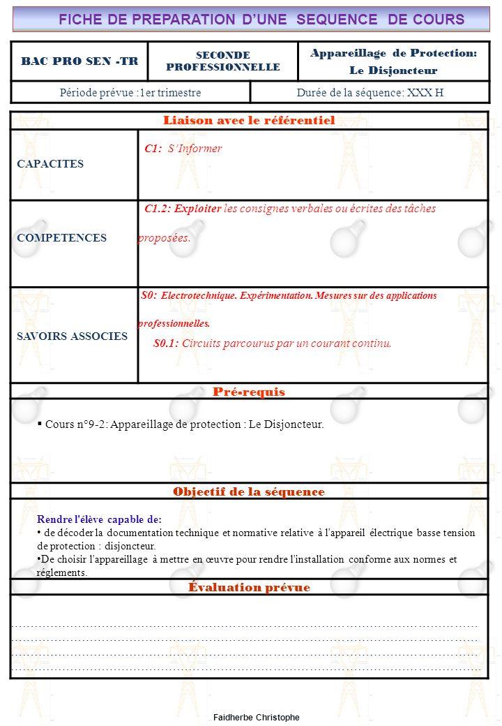 Seconde Bac Professionnel ELEEC Synthèse Plan du TD ………………………………..……… M.FAIDHERBE, Professeur au Lycée Privé Saint Rémi Pôle professionnel Léonard de Vinci Liaison avec le référentiel C7X C6X C5X C4X C3X C2X C1x S0S1S2S3S4S5S6S7 CHAMP PROFESSIONNEL: Alarme, Sécurité, Incendie TD N°9-2: Appareillage de protection: Le disjoncteur S0: Les Systèmes Electroniques dAlarme, Sécurité, Incendie S0 -1.0: Règles techniques dinstallation Lycée Saint-Rémi, site Léonard de Vinci BAC PRO SEN – TR Seconde Professionnelle Lieu dActivité: Classe OBJECTIFS - Identifier des situations dangereuses -Evaluer la dangerosité du courant -Calculer la sensibilité dun disjoncteur TD - Exercice n°1 : situations dangereuses - Exercice n°2 : Danger de la durée de passage du courant - Exercice n°3 : Calcul autour de la sensibilité