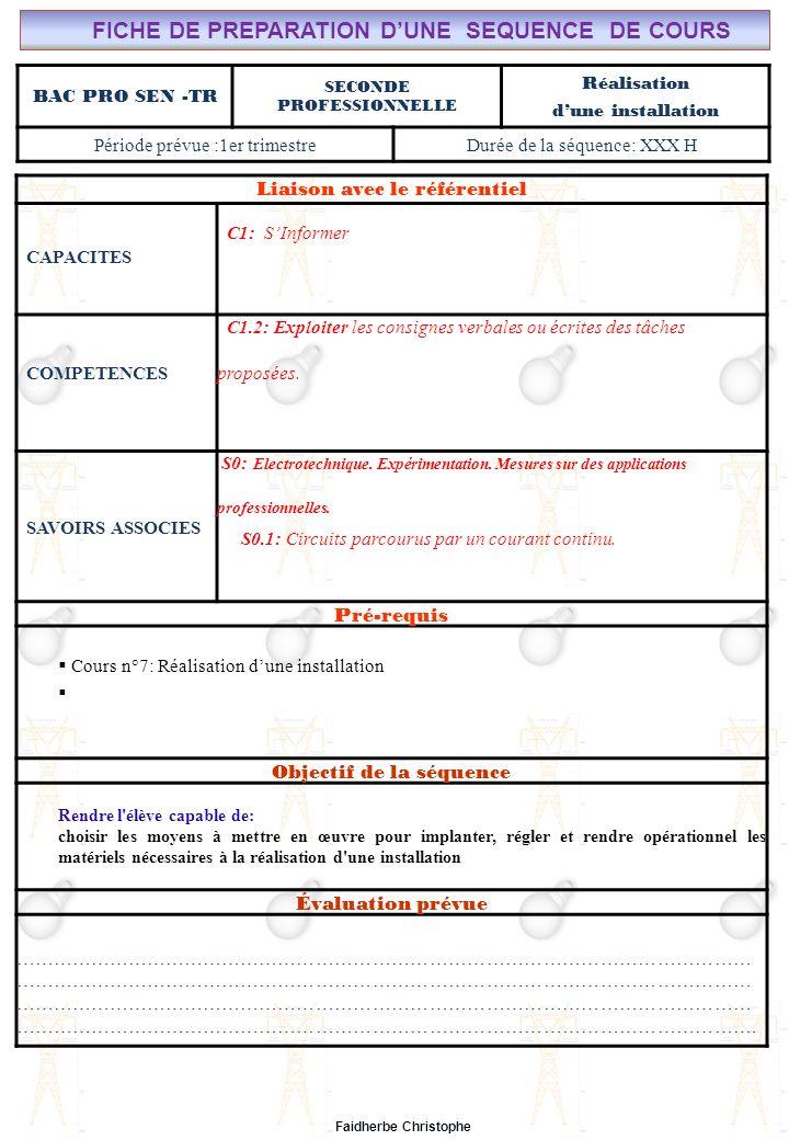 Seconde Bac Professionnel ELEEC Synthèse Plan du TD ………………………………..……… M.FAIDHERBE, Professeur au Lycée Privé Saint Rémi Pôle professionnel Léonard de Vinci Liaison avec le référentiel C7X C6X C5X C4X C3X C2X C1x S0S1S2S3S4S5S6S7 CHAMP PROFESSIONNEL: Alarme, Sécurité, Incendie TD N°7: Réalisation dune installation S0: Les Systèmes Electroniques dAlarme, Sécurité, Incendie S0 -1.0: Règles techniques dinstallation Lycée Saint-Rémi, site Léonard de Vinci BAC PRO SEN – TR Seconde Professionnelle Lieu dActivité: Classe OBJECTIFS - Identifier des situations dangereuses -Evaluer la dangerosité du courant -Calculer la sensibilité dun disjoncteur TD - Exercice n°1 : situations dangereuses - Exercice n°2 : Danger de la durée de passage du courant - Exercice n°3 : Calcul autour de la sensibilité