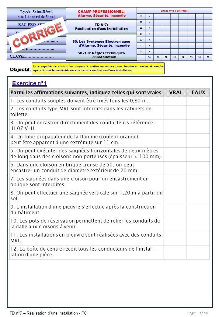 Page: 4/ 10 TD n°7 – Réalisation dune installation - FC Liaison avec le référentiel C7x C6X C5X C4X C3X C2X C1X S0S1S2S3S4S5S6S7 CHAMP PROFESSIONNEL: Alarme, Sécurité, Incendie TD N°7: Réalisation dune installation S0: Les Systèmes Electroniques dAlarme, Sécurité, Incendie S0 -1.0: Règles techniques dinstallation Lycée Saint-Rémi, site Léonard de Vinci BAC PRO SEN – TR Seconde Professionnelle PAGE 2/5 Exercice n°2 Prévoir la liste du matériel pour une installation en pieuvre de la pièce ci- dessous (3 prises de courant et 1 lampe centrale en simple allumage commandée vers la porte d entrée).