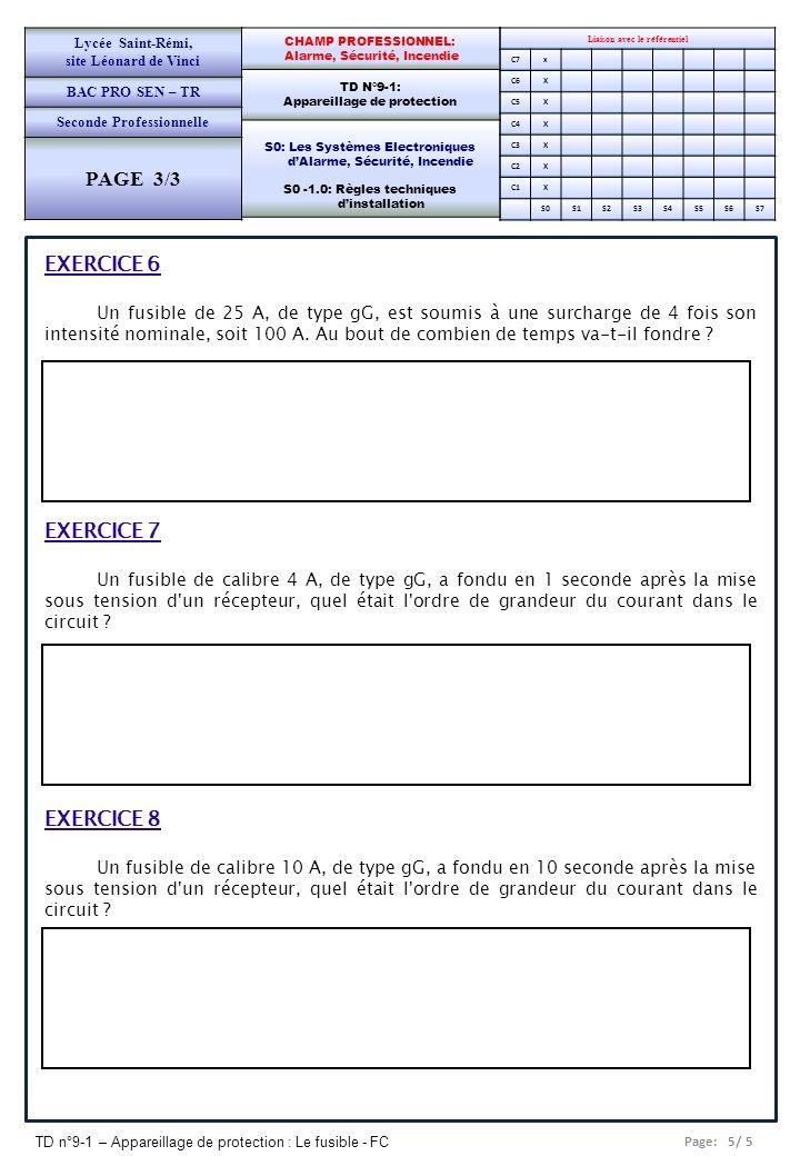 Page: 5/ 5 TD n°9-1 – Appareillage de protection : Le fusible - FC Liaison avec le référentiel C7x C6X C5X C4X C3X C2X C1X S0S1S2S3S4S5S6S7 CHAMP PROF