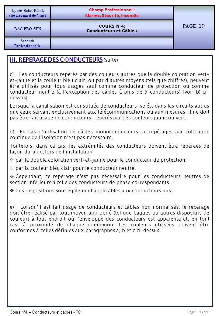 Page: 17/ 9 Cours n°4 – Conducteurs et câbles - FC III. REPERAGE DES CONDUCTEURS (suite) c) Les conducteurs repérés par des couleurs autres que la dou