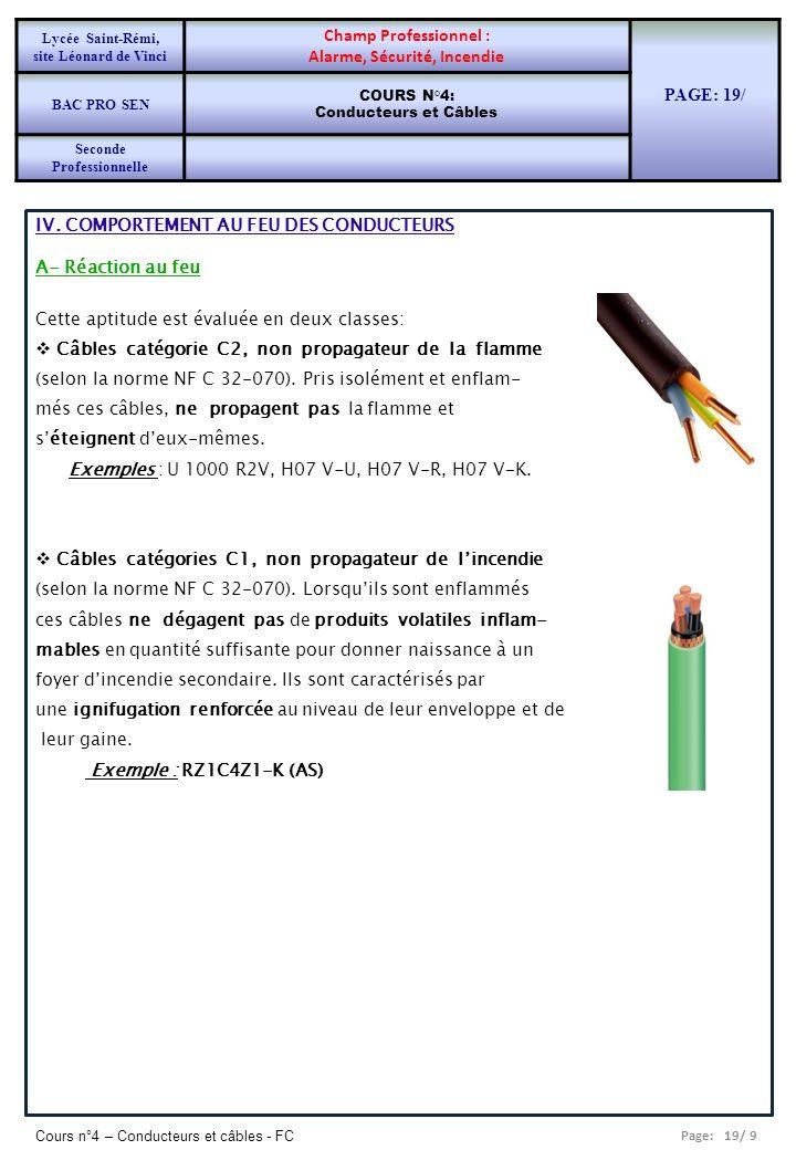 Page: 19/ 9 Cours n°4 – Conducteurs et câbles - FC IV. COMPORTEMENT AU FEU DES CONDUCTEURS A- Réaction au feu Cette aptitude est évaluée en deux class
