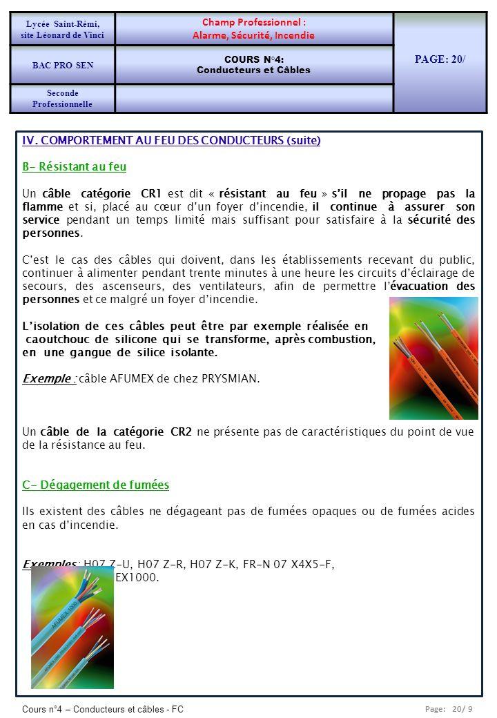 Page: 20/ 9 Cours n°4 – Conducteurs et câbles - FC IV. COMPORTEMENT AU FEU DES CONDUCTEURS (suite) B- Résistant au feu Un câble catégorie CR1 est dit