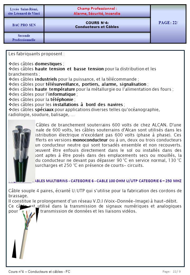 Page: 22/ 9 Cours n°4 – Conducteurs et câbles - FC Les fabriquants proposent : des câbles domestiques ; des câbles haute tension et basse tension pour