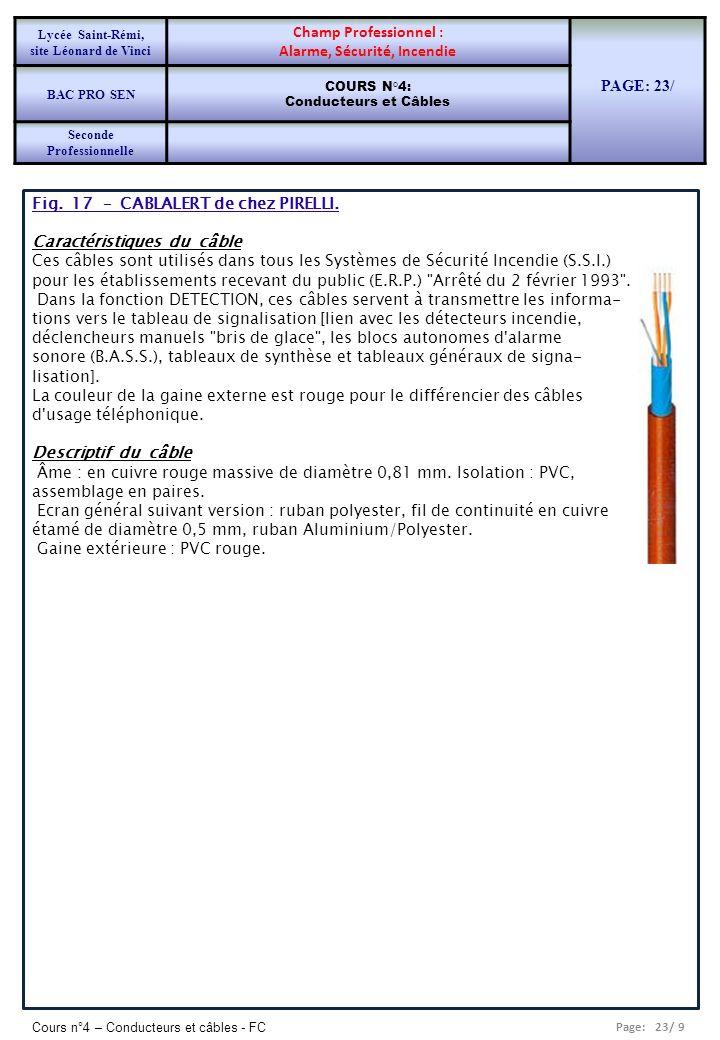 Page: 23/ 9 Cours n°4 – Conducteurs et câbles - FC Fig. 17 – CABLALERT de chez PIRELLI. Caractéristiques du câble Ces câbles sont utilisés dans tous l