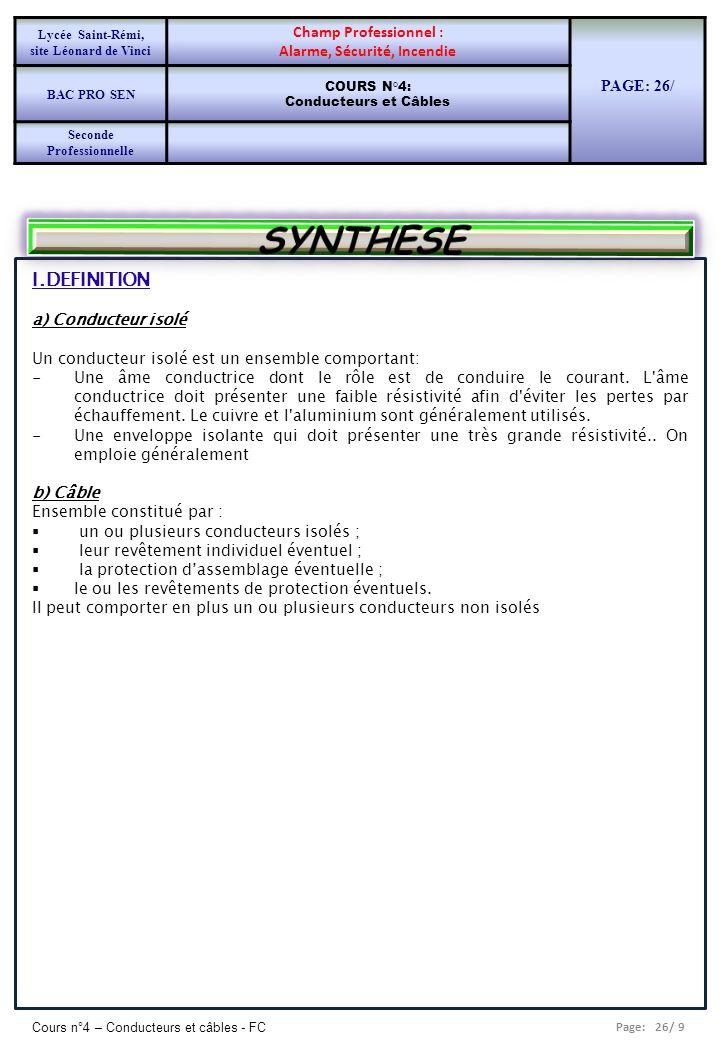 Page: 26/ 9 Cours n°4 – Conducteurs et câbles - FC I.DEFINITION a) Conducteur isolé Un conducteur isolé est un ensemble comportant: -Une âme conductri