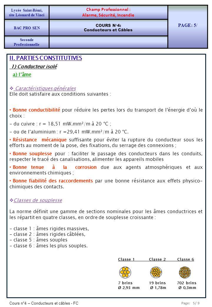Page: 5/ 9 Cours n°4 – Conducteurs et câbles - FC II. PARTIES CONSTITUTIVES 1) Conducteur isolé a) lâme Caractéristiques générales Elle doit satisfair