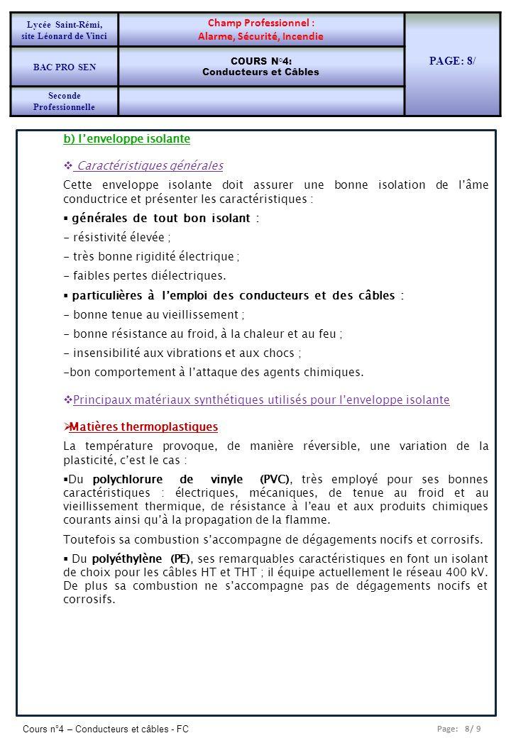 Page: 8/ 9 Cours n°4 – Conducteurs et câbles - FC b) lenveloppe isolante Caractéristiques générales Cette enveloppe isolante doit assurer une bonne is