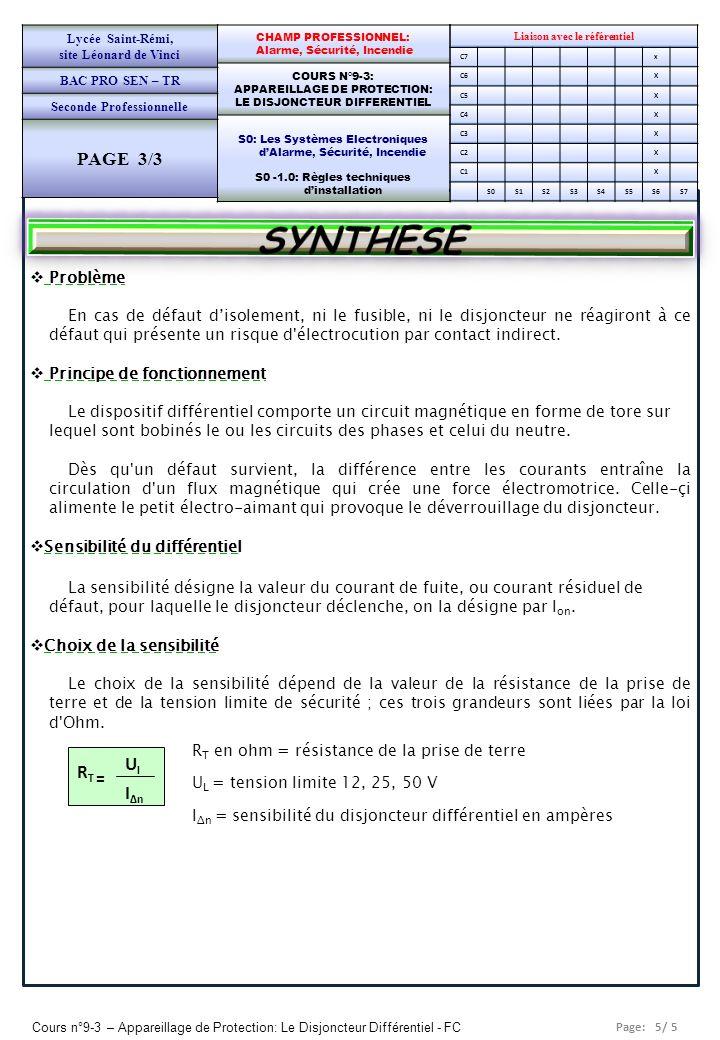 Page: 5/ 5 Cours n°9-3 – Appareillage de Protection: Le Disjoncteur Différentiel - FC Liaison avec le référentiel C7x C6X C5X C4X C3X C2X C1X S0S1S2S3