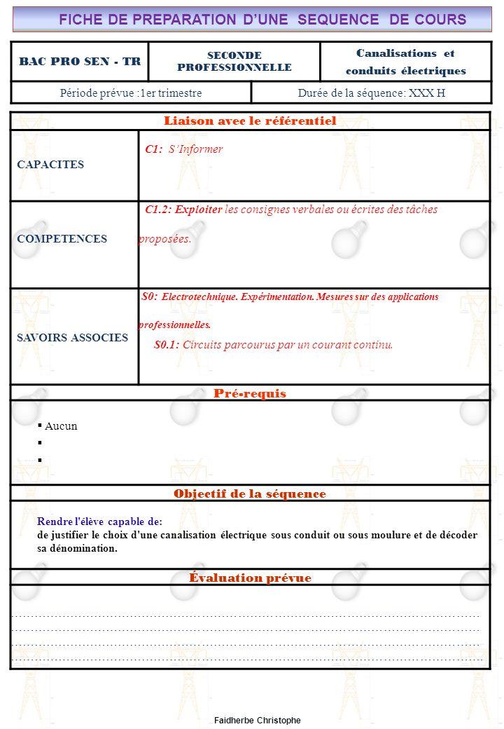 Seconde Bac Professionnel ELEEC Synthèse Plan du Cours ………………………………..……… M.FAIDHERBE, Professeur au Lycée Privé Saint Rémi Pôle professionnel Léonard de Vinci Liaison avec le référentiel C7X C6X C5X C4X C3X C2X C1x S0S1S2S3S4S5S6S7 CHAMP PROFESSIONNEL: Alarme, Sécurité, Incendie COURS N°5: Conduits et canalisations électriques S0: Les Systèmes Electroniques dAlarme, Sécurité, Incendie S0 -1.0: Règles techniques dinstallation Lycée Saint-Rémi, site Léonard de Vinci BAC PRO SEN – TR Seconde Professionnelle Lieu dActivité: Classe I).Définition II).Électricité dans la matière III).Courant électrique III.1Définition III.2Mesure de lintensité du courant électrique IV).Formules IV.1Intensité IV.2Densité du courant(J) IV.3Application V).Différence de potentiel ( tension) V.1Définition V.2Analogie (circuit hydraulique) V.3Application Exercices Expérience Cours