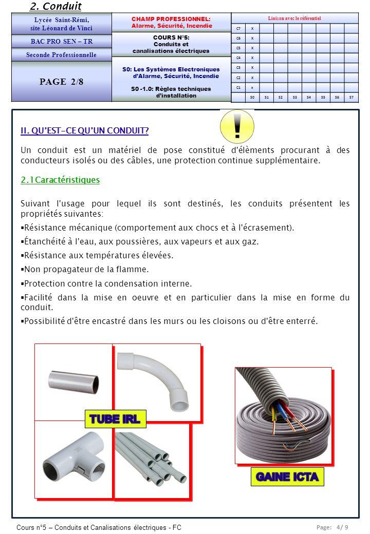 Page: 5/ 9 Cours n°5 – Conduits et Canalisations électriques - FC Liaison avec le référentiel C7X C6X C5X C4X C3X C2X C1x S0S1S2S3S4S5S6S7 CHAMP PROFESSIONNEL: Alarme, Sécurité, Incendie COURS N°5: Conduits et canalisations électriques S0: Les Systèmes Electroniques dAlarme, Sécurité, Incendie S0 -1.0: Règles techniques dinstallation Lycée Saint-Rémi, site Léonard de Vinci BAC PRO SEN – TR Seconde Professionnelle PAGE 2/8 2.2 Désignation des conduits tubulaires exemple 16 IRL 3321 La désignation comprend 2 chiffres puis 3 ou 4 lettres et 4 chiffres.
