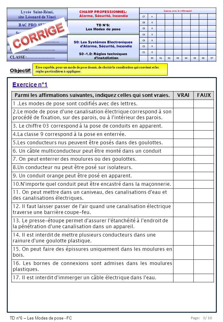 Page: 3/ 10 TD n°6 – Les Modes de pose - FC Objectif: Etre capable, pour un mode de pose donné, de choisir la canalisation qui convient et les règles