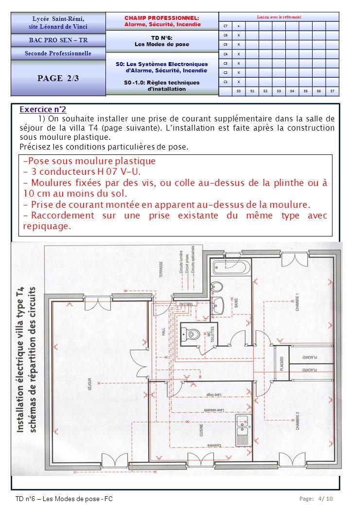 Page: 4/ 10 TD n°6 – Les Modes de pose - FC Liaison avec le référentiel C7x C6X C5X C4X C3X C2X C1X S0S1S2S3S4S5S6S7 CHAMP PROFESSIONNEL: Alarme, Sécu