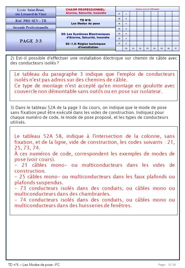 Page: 5/ 10 TD n°6 – Les Modes de pose - FC Liaison avec le référentiel C7x C6X C5X C4X C3X C2X C1X S0S1S2S3S4S5S6S7 CHAMP PROFESSIONNEL: Alarme, Sécu