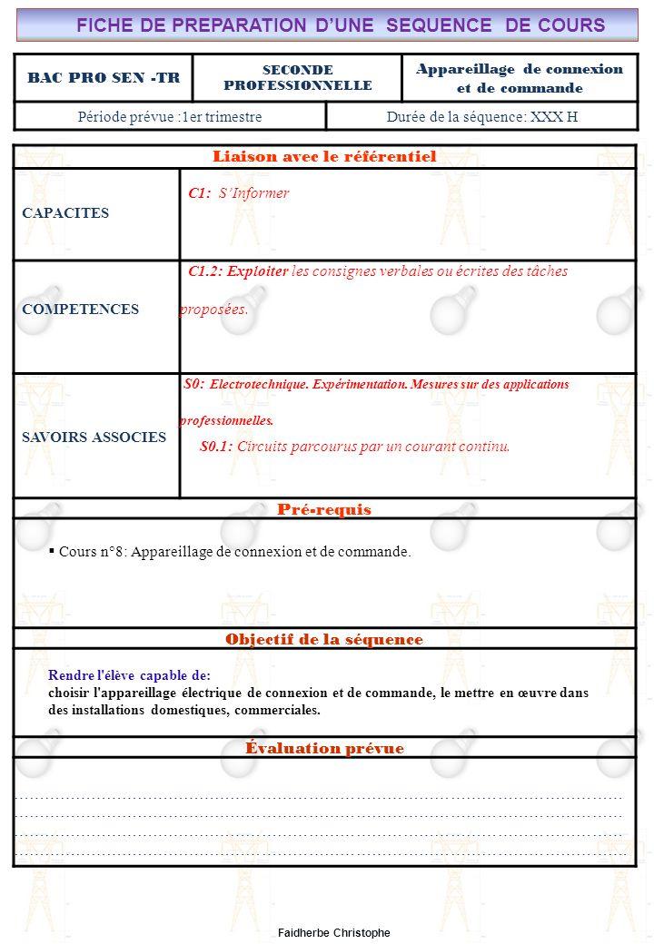 Seconde Bac Professionnel ELEEC Synthèse Plan du TD ………………………………..……… M.FAIDHERBE, Professeur au Lycée Privé Saint Rémi Pôle professionnel Léonard de Vinci Liaison avec le référentiel C7X C6X C5X C4X C3X C2X C1x S0S1S2S3S4S5S6S7 CHAMP PROFESSIONNEL: Alarme, Sécurité, Incendie TD N°8: Appareillage de connexion et de commande S0: Les Systèmes Electroniques dAlarme, Sécurité, Incendie S0 -1.0: Règles techniques dinstallation Lycée Saint-Rémi, site Léonard de Vinci BAC PRO SEN – TR Seconde Professionnelle Lieu dActivité: Classe OBJECTIFS - Identifier des situations dangereuses -Evaluer la dangerosité du courant -Calculer la sensibilité dun disjoncteur TD - Exercice n°1 : situations dangereuses - Exercice n°2 : Danger de la durée de passage du courant - Exercice n°3 : Calcul autour de la sensibilité