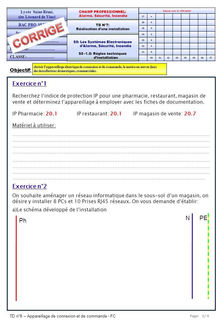 Page: 4/ 4 TD n°8 – Appareillage de connexion et de commande - FC Liaison avec le référentiel C7x C6X C5X C4X C3X C2X C1X S0S1S2S3S4S5S6S7 CHAMP PROFESSIONNEL: Alarme, Sécurité, Incendie TD N°7: Réalisation dune installation S0: Les Systèmes Electroniques dAlarme, Sécurité, Incendie S0 -1.0: Règles techniques dinstallation Lycée Saint-Rémi, site Léonard de Vinci BAC PRO SEN – TR Seconde Professionnelle PAGE 2/2 Exercice n°2 (suite) b) Le schéma multifilaire c) La liste de lappareillage (installation sous goulotte)