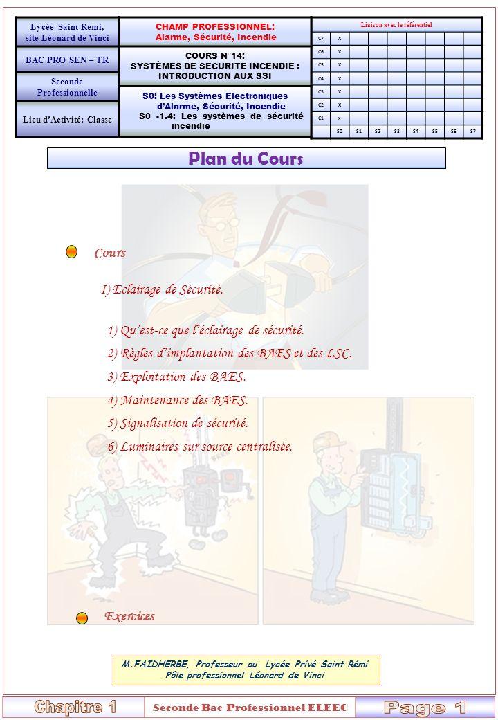 Page: 3/ 7 Cours n°14 – Systèmes de sécurité – Introduction aux SSI - FC Objectif: Lycée Saint-Rémi, site Léonard de Vinci CHAMP PROFESSIONNEL: Alarme, Sécurité, Incendie Liaison avec le référentiel C7X BAC PRO SEN – TR COURS N°14: SYSTÈMES DE SECURITE INCENDIE : INTRODUCTION AUX SSI C6X C5X Seconde Professionnelle C4X S0: Les Systèmes Electroniques dAlarme, Sécurité, Incendie S0 -1.4: Les systèmes de sécurité incendie C3X C2X NOM:………………… C1X PRENOM:…………… S0S1S2S3S4S5S6S7 CLASSE:…………… I)QUEST-CE QUUN SSI .