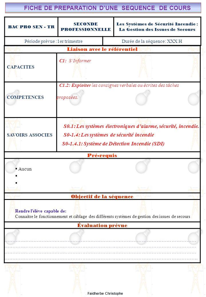 Faidherbe Christophe BAC PRO SEN - TR SECONDE PROFESSIONNELLE Les Systèmes de Sécurité Incendie : La Gestion des Issues de Secours Période prévue :1er
