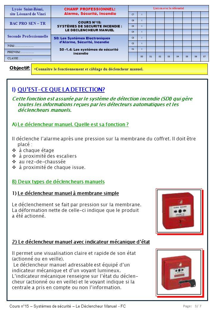 Page: 3/ 7 Cours n°15 – Systèmes de sécurité – Le Déclencheur Manuel - FC Objectif: Connaître le fonctionnement et câblage du déclencheur manuel. Lycé