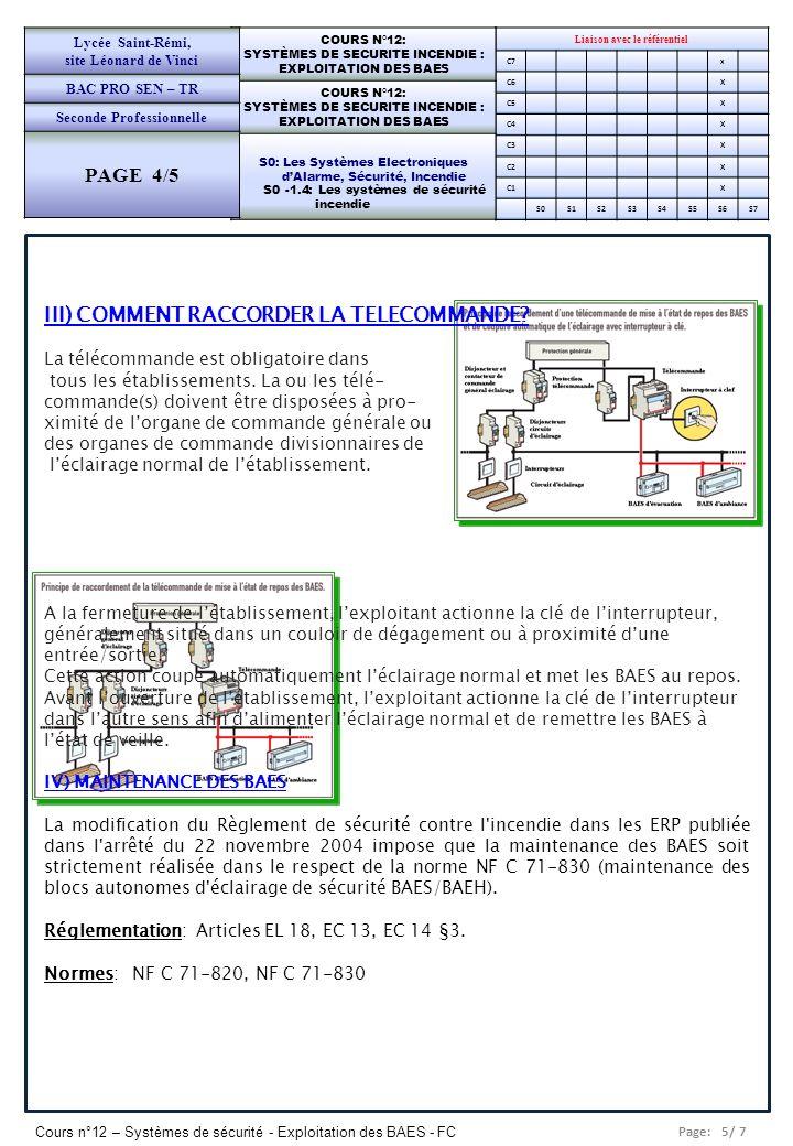 Page: 6/ 7 Cours n°12 – Systèmes de sécurité - Exploitation des BAES - FC Liaison avec le référentiel C7x C6X C5X C4X C3X C2X C1X S0S1S2S3S4S5S6S7 COURS N°12: SYSTÈMES DE SECURITE INCENDIE : EXPLOITATION DES BAES COURS N°12: SYSTÈMES DE SECURITE INCENDIE : EXPLOITATION DES BAES S0: Les Systèmes Electroniques dAlarme, Sécurité, Incendie S0 -1.4: Les systèmes de sécurité incendie Lycée Saint-Rémi, site Léonard de Vinci BAC PRO SEN – TR Seconde Professionnelle PAGE 4/5 A) Quelle est la responsabilité du chef d établissement .