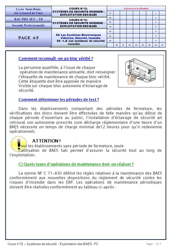 Page: 8/ 7 Cours n°12 – Systèmes de sécurité - Exploitation des BAES - FC Liaison avec le référentiel C7x C6X C5X C4X C3X C2X C1X S0S1S2S3S4S5S6S7 COURS N°12: SYSTÈMES DE SECURITE INCENDIE : EXPLOITATION DES BAES COURS N°12: SYSTÈMES DE SECURITE INCENDIE : EXPLOITATION DES BAES S0: Les Systèmes Electroniques dAlarme, Sécurité, Incendie S0 -1.4: Les systèmes de sécurité incendie Lycée Saint-Rémi, site Léonard de Vinci BAC PRO SEN – TR Seconde Professionnelle PAGE 4/5 (1) Personnes ou organismes agréés par le Ministère de l Intérieur, ou techniciens agréés par un organisme de contrôle.