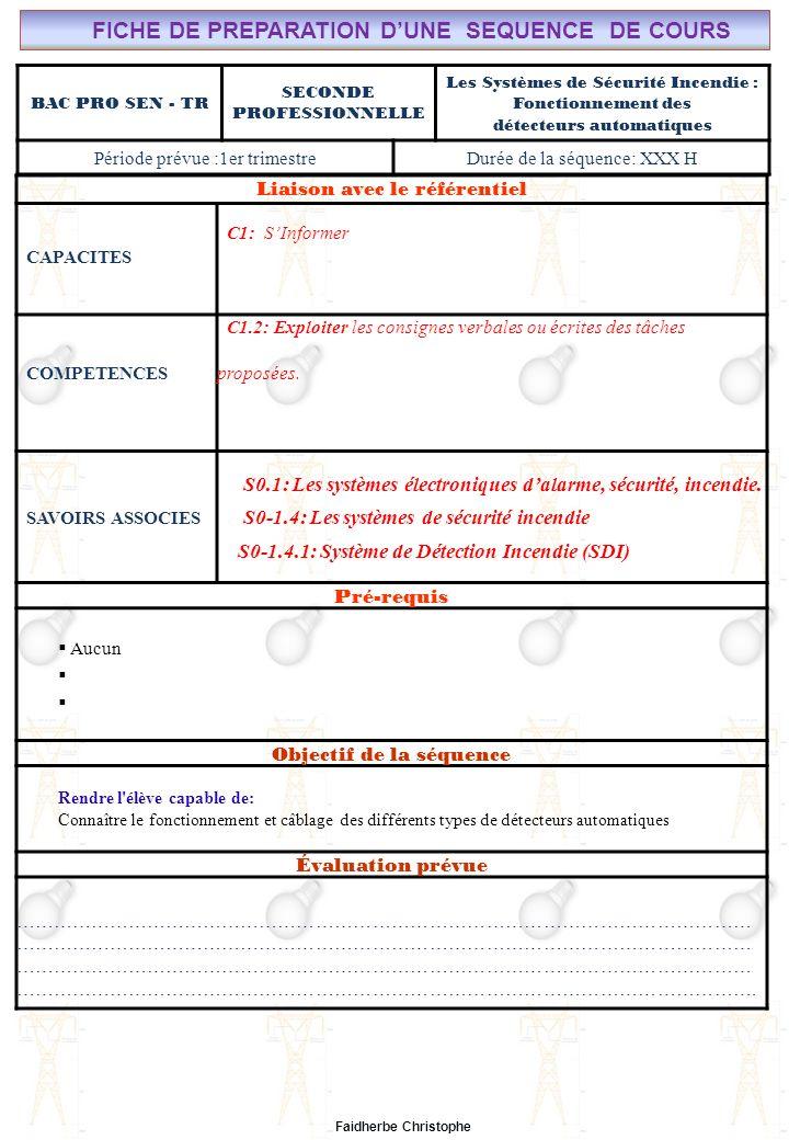 Cours n°17 – Systèmes de sécurité – Principe de fonctionnement des Détecteurs - FC Lycée Saint-Rémi, site Léonard de Vinci CHAMP PROFESSIONNEL: Alarme, Sécurité, Incendie Liaison avec le référentiel C7 BAC PRO SEN – TR COURS N°17: SYSTÈMES DE SECURITE INCENDIE : LE FONCTIONNEMENT DES DETECTEURS AUTOMATIQUES C6 C5 Seconde Professionnelle C4 S0: Les Systèmes Electroniques dAlarme, Sécurité, Incendie S0 -1.4: Les systèmes de sécurité incendie C3 C2 PAGE 2/ C1 S0S1S2S3S4S5S6S7 1.5 SYNTHESE SUR LUTILISATION DES DETECTEURS DINCENDIE Le tableau 2 suivant récapitule ladaptation des différents types de détecteurs aux divers feux.