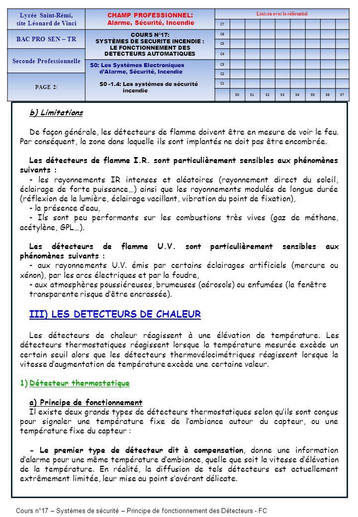 Cours n°17 – Systèmes de sécurité – Principe de fonctionnement des Détecteurs - FC Lycée Saint-Rémi, site Léonard de Vinci CHAMP PROFESSIONNEL: Alarme, Sécurité, Incendie Liaison avec le référentiel C7 BAC PRO SEN – TR COURS N°17: SYSTÈMES DE SECURITE INCENDIE : LE FONCTIONNEMENT DES DETECTEURS AUTOMATIQUES C6 C5 Seconde Professionnelle C4 S0: Les Systèmes Electroniques dAlarme, Sécurité, Incendie S0 -1.4: Les systèmes de sécurité incendie C3 C2 PAGE 2/ C1 S0S1S2S3S4S5S6S7 - Le second type de détecteur donne une signalisation dalarme quand le capteur atteint une température Tc qui dans tous les cas est inférieure à la température Td de lambiance au même instant.