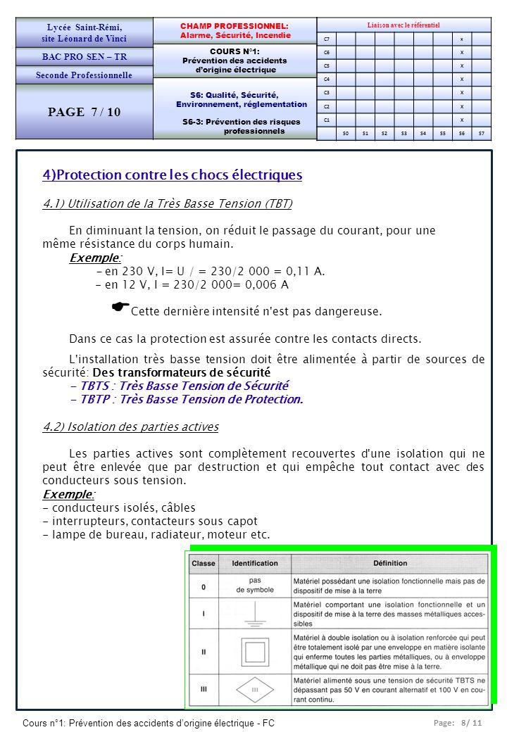 Page: 9/ 11 Cours n°1: Prévention des accidents dorigine électrique - FC Liaison avec le référentiel C7x C6X C5X C4X C3X C2X C1X S0S1S2S3S4S5S6S7 CHAMP PROFESSIONNEL: Alarme, Sécurité, Incendie COURS N°1: Prévention des accidents dorigine électrique S6: Qualité, Sécurité, Environnement, réglementation S6-3: Prévention des risques professionnels Lycée Saint-Rémi, site Léonard de Vinci BAC PRO SEN – TR Seconde Professionnelle PAGE 8 / 10