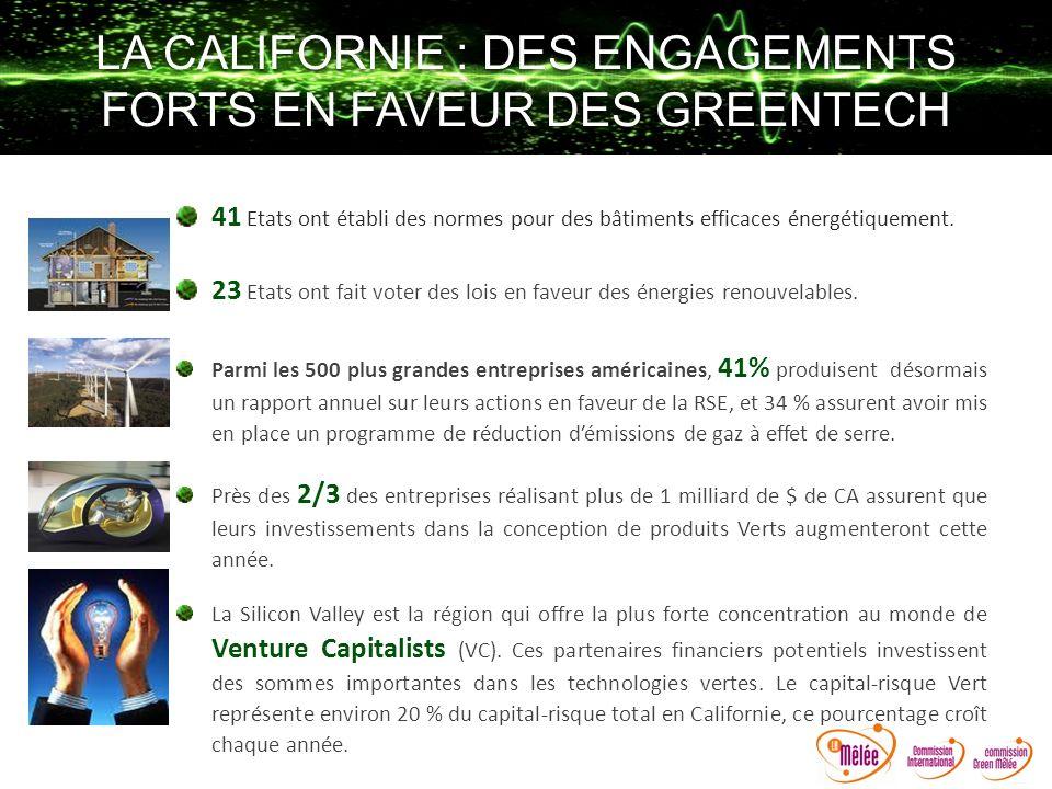 LA CALIFORNIE : DES ENGAGEMENTS FORTS EN FAVEUR DES GREENTECH 41 Etats ont établi des normes pour des bâtiments efficaces énergétiquement. 23 Etats on