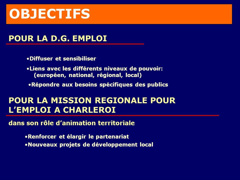 OBJECTIFS POUR LA D.G.