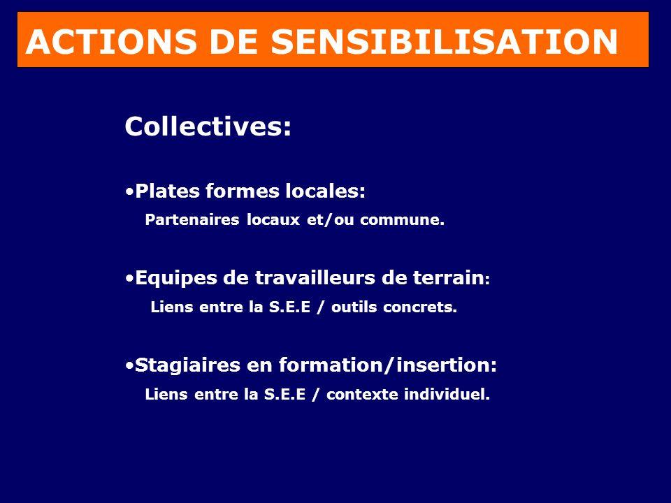 ACTIONS DE SENSIBILISATION Collectives: Plates formes locales: Partenaires locaux et/ou commune.