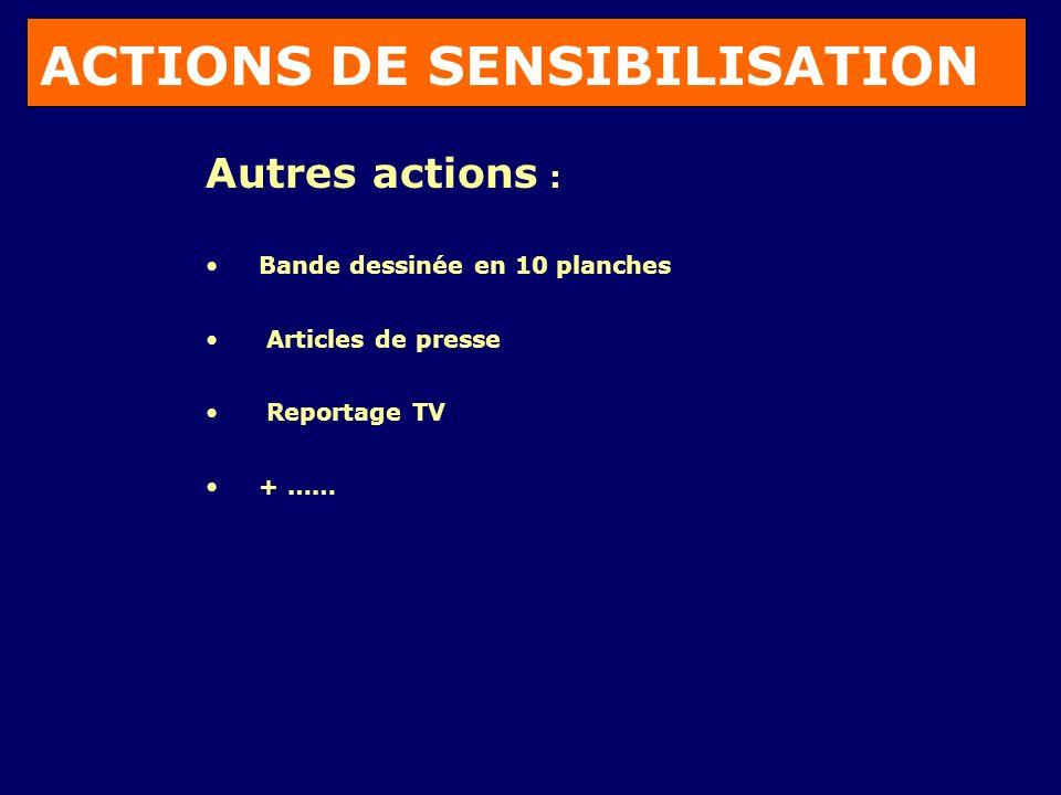 ACTIONS DE SENSIBILISATION Autres actions : Bande dessinée en 10 planches Articles de presse Reportage TV + ……