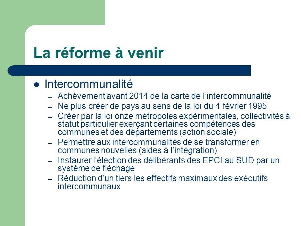 La réforme à venir Intercommunalité – Achèvement avant 2014 de la carte de lintercommunalité – Ne plus créer de pays au sens de la loi du 4 février 19