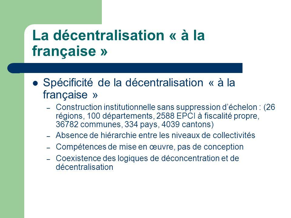 La décentralisation « à la française » Spécificité de la décentralisation « à la française » – Construction institutionnelle sans suppression déchelon