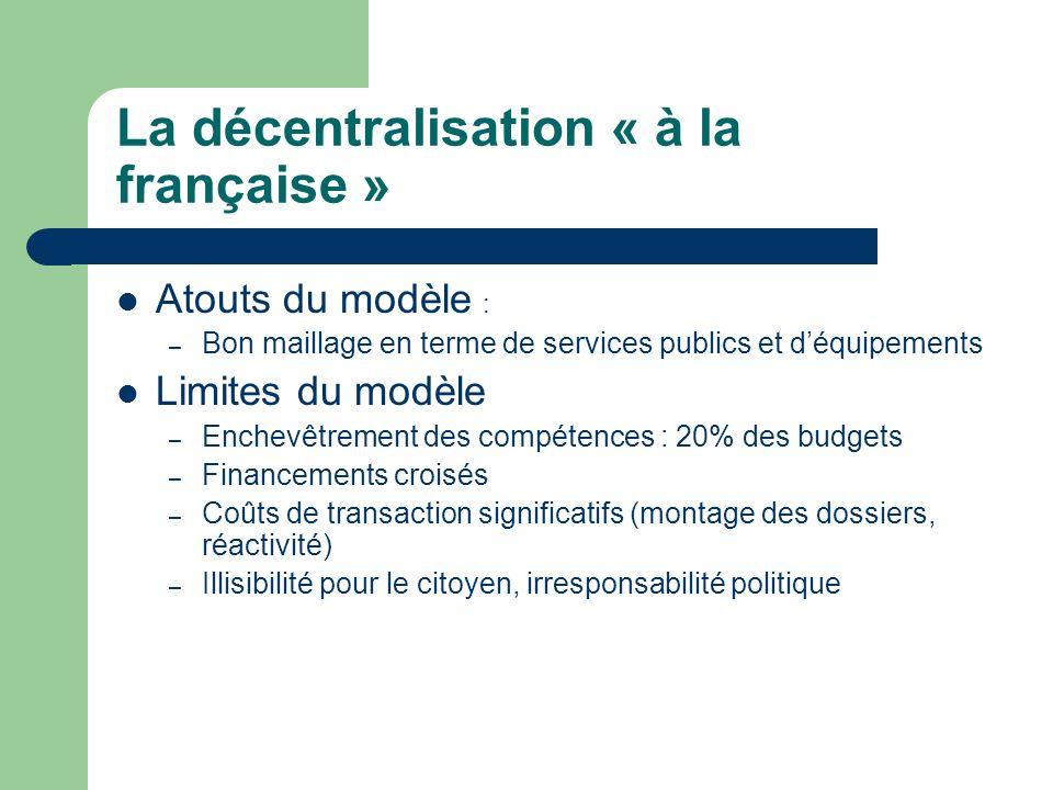 La décentralisation « à la française » Atouts du modèle : – Bon maillage en terme de services publics et déquipements Limites du modèle – Enchevêtreme