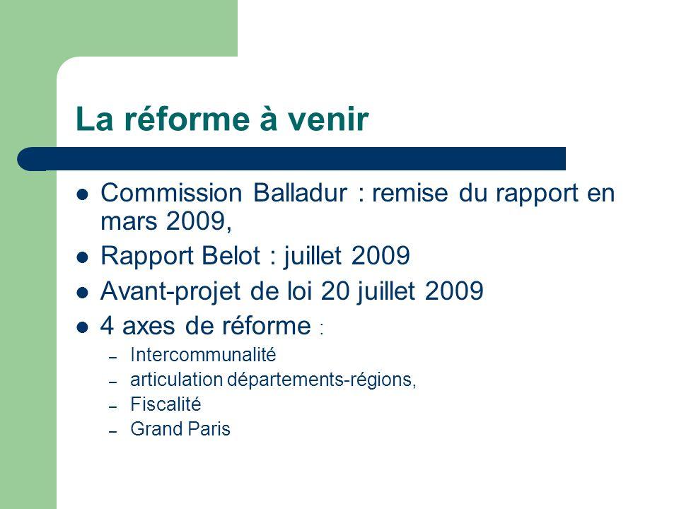 La réforme à venir Commission Balladur : remise du rapport en mars 2009, Rapport Belot : juillet 2009 Avant-projet de loi 20 juillet 2009 4 axes de ré