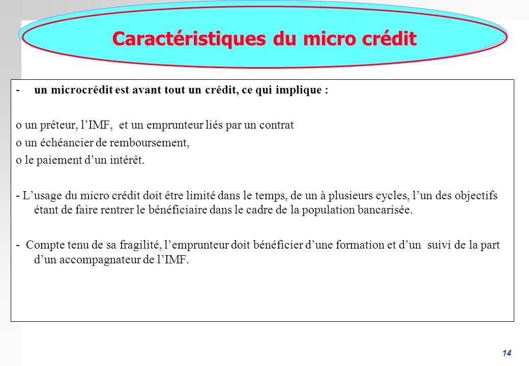 14 Caractéristiques du micro crédit -un microcrédit est avant tout un crédit, ce qui implique : o un prêteur, lIMF, et un emprunteur liés par un contrat o un échéancier de remboursement, o le paiement dun intérêt.