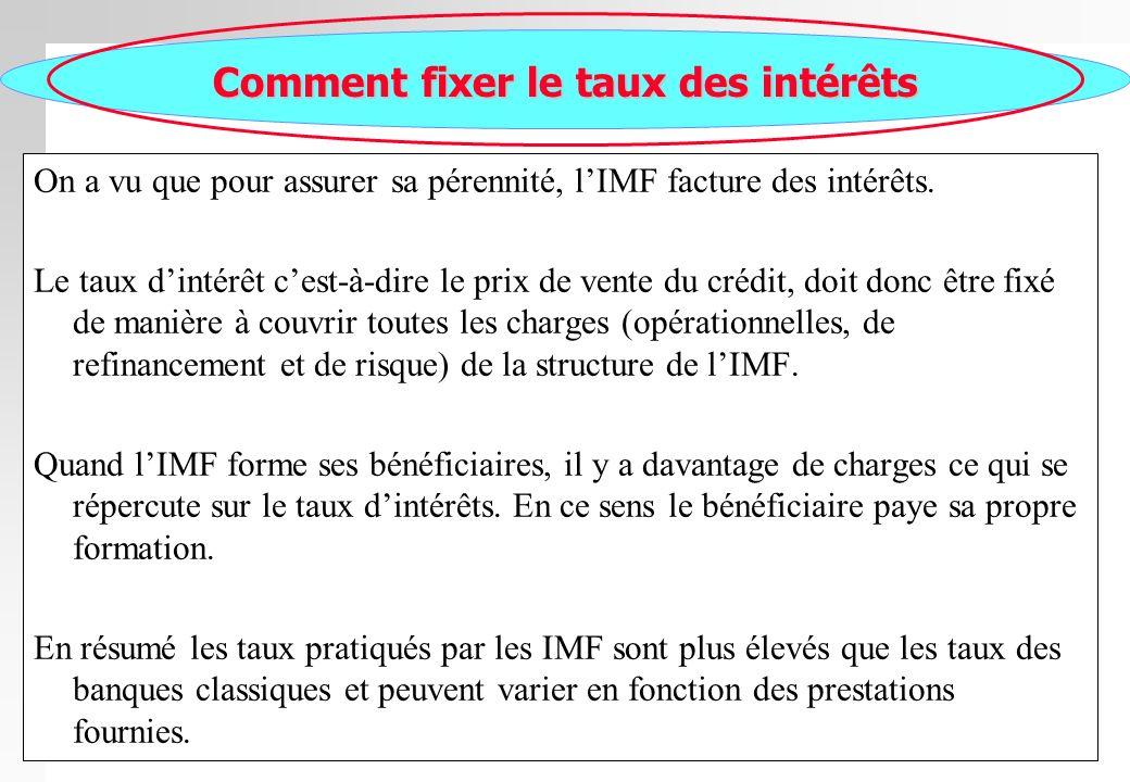 18 Comment fixer le taux des intérêts On a vu que pour assurer sa pérennité, lIMF facture des intérêts. Le taux dintérêt cest-à-dire le prix de vente