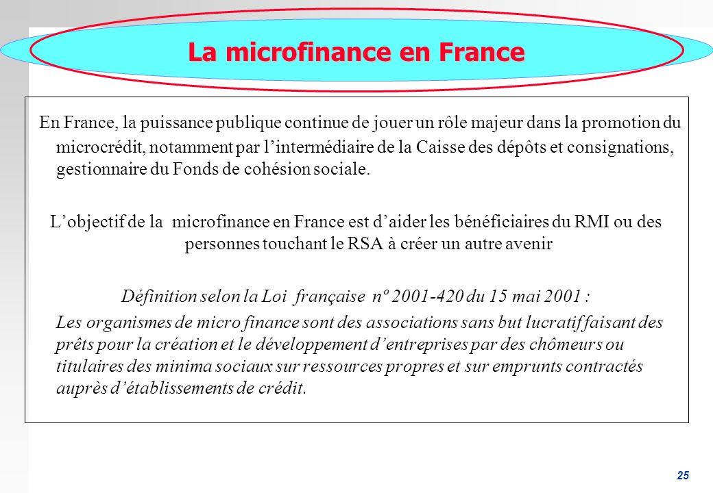 25 La microfinance en France En France, la puissance publique continue de jouer un rôle majeur dans la promotion du microcrédit, notamment par lintermédiaire de la Caisse des dépôts et consignations, gestionnaire du Fonds de cohésion sociale.