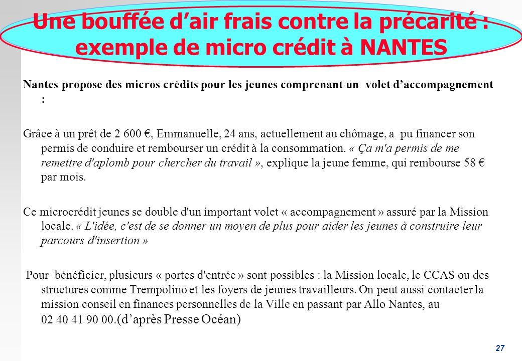27 Une bouffée dair frais contre la précarité : exemple de micro crédit à NANTES Nantes propose des micros crédits pour les jeunes comprenant un volet