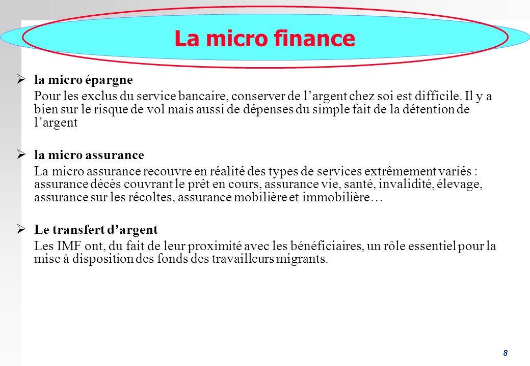 8 La micro finance la micro épargne Pour les exclus du service bancaire, conserver de largent chez soi est difficile. Il y a bien sur le risque de vol
