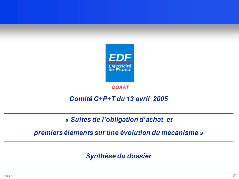 p1 DOAAT « Suites de lobligation dachat et premiers éléments sur une évolution du mécanisme » Comité C+P+T du 13 avril 2005 Synthèse du dossier DOAAT